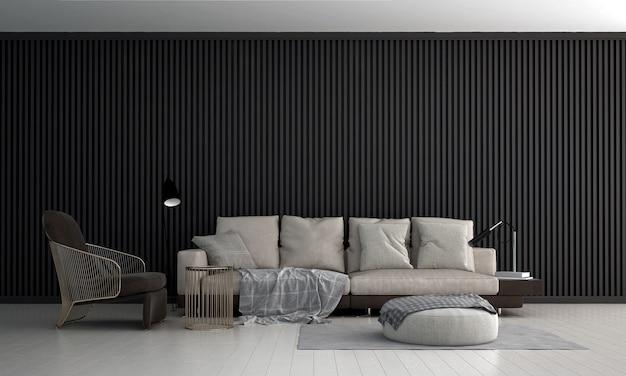 Projekt wnętrza luksusowego salonu i pustej czarnej drewnianej ściany, renderowania 3d