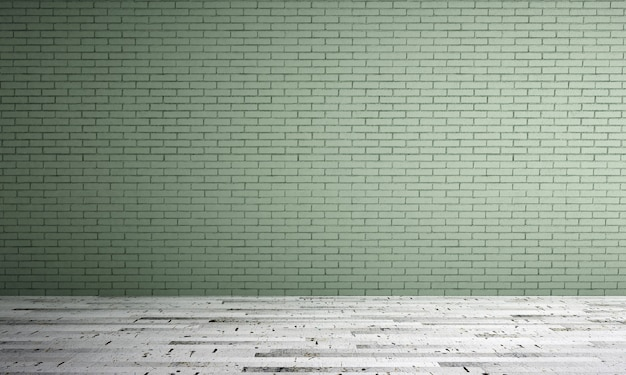 Projekt wnętrza minimalistycznego salonu i zielonego tła ceglanego muru