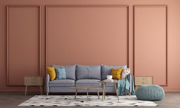 Projekt wnętrza nowoczesnego pomarańczowego salonu z dekoracją i pustą makietą ścienną w tle, renderowanie 3d, ilustracja 3d