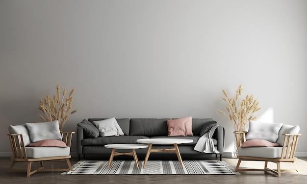 Projekt wnętrza nowoczesnego salonu na poddaszu z dekoracją i pustą makietą ścienną w tle, renderowanie 3d, ilustracja 3d