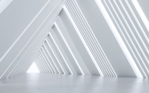 Projekt wnętrza oświetlonego korytarza.