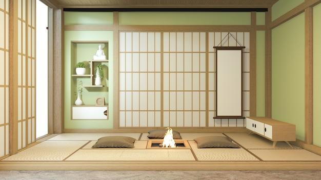 Projekt wnętrza pokoju w kolorze zielonym nihon z papierem drzwiowym i ścianą szafki na japońskim stylu pokoju mat podłogowego tatami. renderowanie 3d