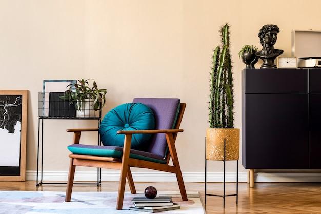 Projekt wnętrza retro salonu z designerskimi fotelami i eleganckimi akcesoriami osobistymi szablon