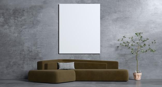 Projekt wnętrza salonu i czarnej betonowej ściany i ramy obrazu
