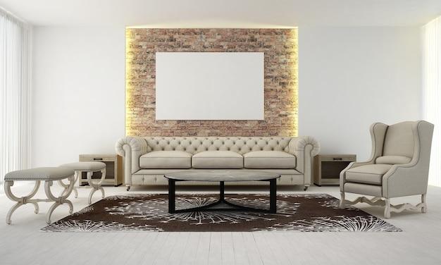 Projekt wnętrza salonu i salonu oraz pusta rama płócienna na tle ściany z cegły