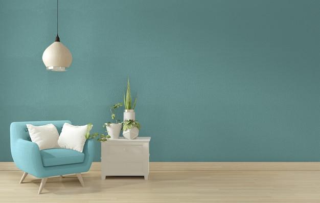 Projekt wnętrza salonu w kolorze niebieskim. renderowania 3d