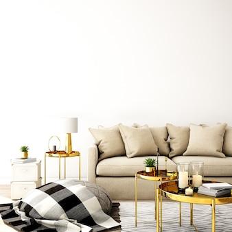 Projekt wnętrza salonu w nowoczesnym stylu
