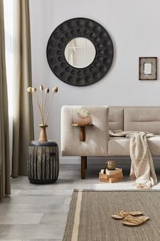Projekt wnętrza salonu w stylu etnicznym z nowoczesną komodą, okrągłym lustrem, dekoracją, meblami i akcesoriami osobistymi. szablon. biała ściana.