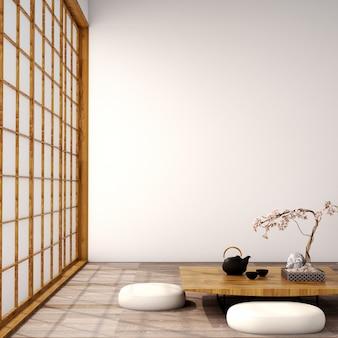 Projekt wnętrza salonu w stylu japońskim