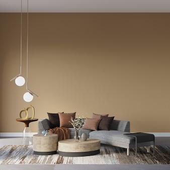 Projekt wnętrza salonu z kanapą przed brązową ścianą
