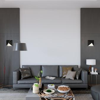 Projekt wnętrza salonu z meblami