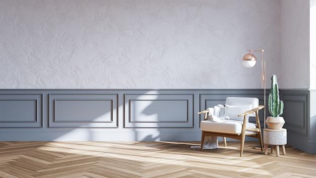 Projekt wnętrza w stylu skandynawskim, drewniane krzesło na białej ścianie z parkietową podłogą