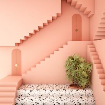 Projekt wnętrza z roślinami i różowymi ścianami