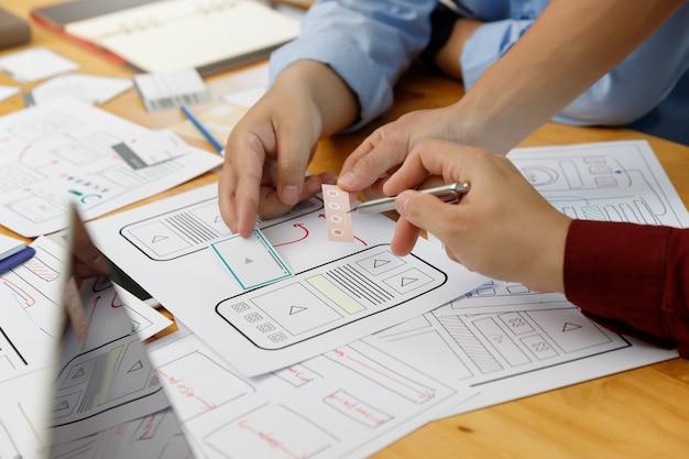 Projektanci graficzni współpracują z ux ui