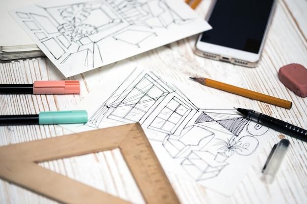 Projektant wykonuje szkic wnętrza