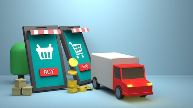 Projektowanie ilustracji 3d do marketingu online z ciężarówką dostawczą