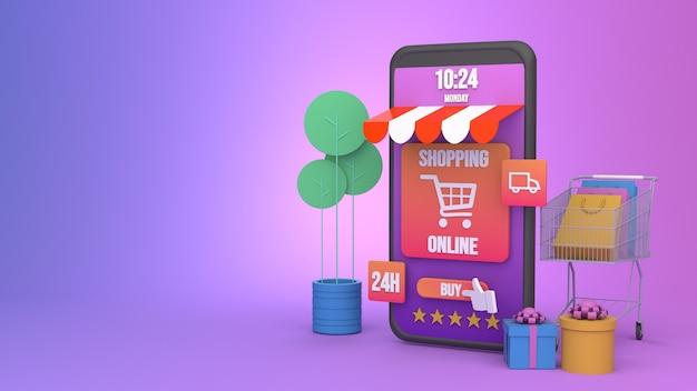 Projektowanie ilustracji 3d smartphone do marketingu online i zakupów z miejsca na kopię