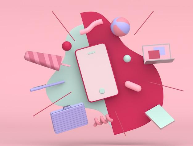 Projektowanie ilustracji 3d z miejsca na kopię do marketingu online