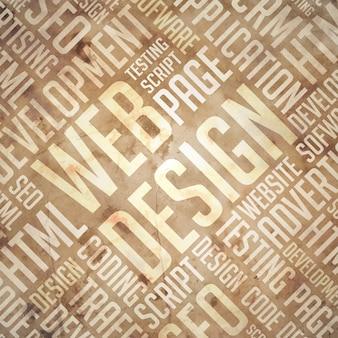 Projektowanie stron internetowych - grunge beżowo-brązowy wordcloud.