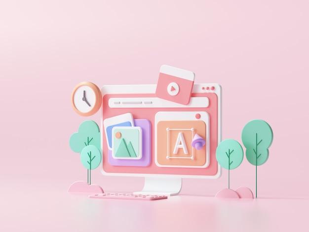 Projektowanie web ui-ux, koncepcja tworzenia stron internetowych. budowanie stron internetowych i marketing optymalizacji seo. ilustracja renderowania 3d