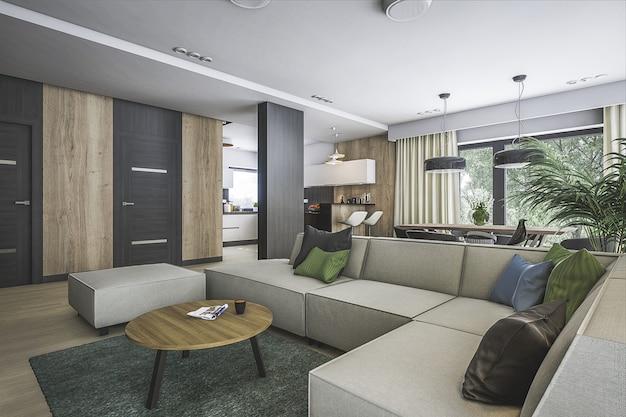 Projektowanie wnętrz 3d wnętrze salonu