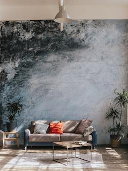 Projektowanie wnętrz. meble przeciw niebieskiej ścianie i drewnianej podłodze