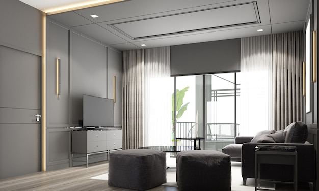 Projektowanie wnętrz nowoczesny klasyczny styl salonu z czarnym marmurem i czarną stalową teksturą oraz szarymi meblami wbudowanymi w wnętrze renderowania 3d