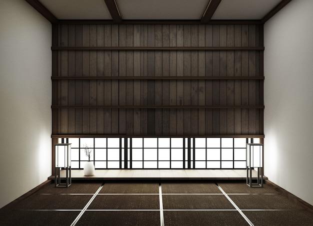 Projektowanie wnętrz, nowoczesny pusty pokój dzienny z matą podłogową tatami i tradycyjnym japońskim renderowaniem 3d