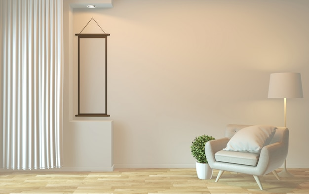 Projektowanie wnętrz, nowoczesny salon zen z fotelem i dekoracją. renderowanie 3d