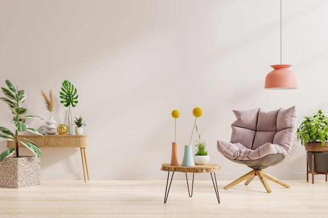 Projektowanie wnętrz salonu w nowoczesnym domu z fotelem na pustej białej ścianie w tle. renderowanie 3d