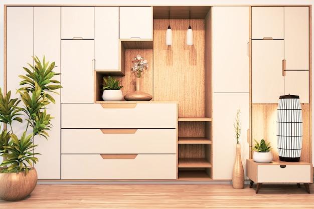 Projektuje gabinetowej półki drewniany japoński styl na pustym pokoju minimalnym renderingu 3d