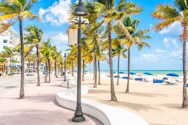 Promenada nadmorska z palmami w słoneczny dzień w fort lauderdale