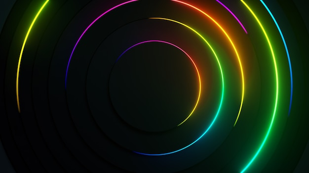 Promieniowe streszczenie tło neon. laserowe linie neonowe poruszają się po okręgu wzdłuż ciemnej okrągłej geometrii.
