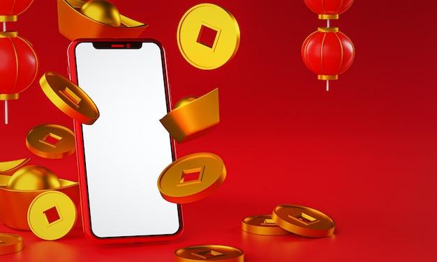 Promocja na chiński nowy rok. spada sztabka złota. renderowanie 3d latarni