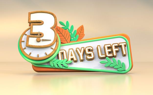 Promocyjna liczba dni renderowania 3d, które pozostały do projektu symbolu znaku