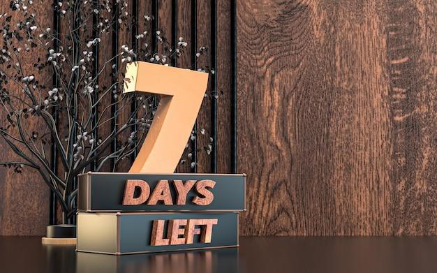 Promocyjna liczba dni renderowania 3d pozostawionych symboli znaku z tłem tekstury drewna