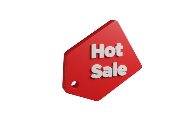Promocyjne tag sprzedaży gorącej w 3d na białym tle.