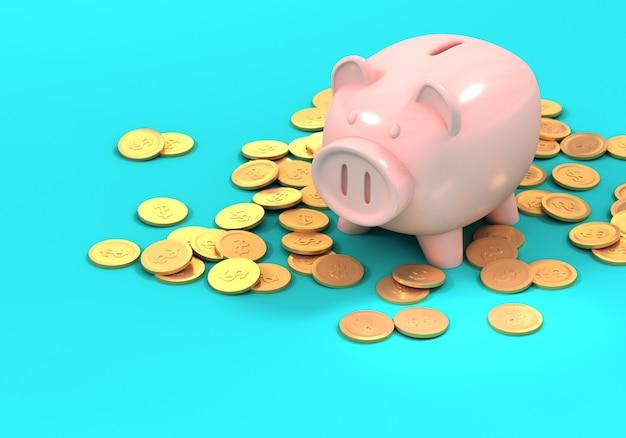 Prosiątko bank i złociste monety, 3d ilustracja