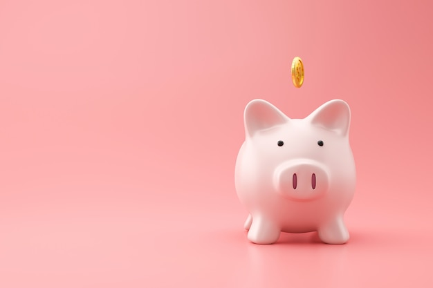 Prosiątko bank i złota moneta na menchiach izolujemy z oszczędzanie pieniądze pojęciem. planowanie finansowe na przyszłość. renderowanie 3d.