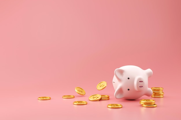 Prosiątko bank i złote monety na menchiach izolujemy z przegranym pieniądze pojęciem. planowanie finansowe na przyszłość. renderowanie 3d.