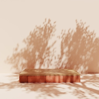 Proste ceglane podium z drewnem i cieniem drzewa
