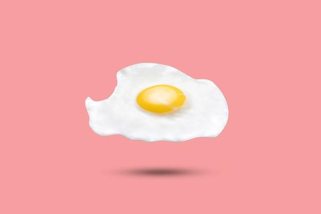 Proste latające pływające jajko sadzone na tle pastelowych kolorów, modny minimalistyczny design