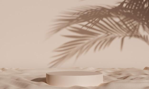 Proste tło podium z tropikalnymi cieniami i tkaniną do reklamy, brandingu i prezentacji produktu. renderowanie 3d