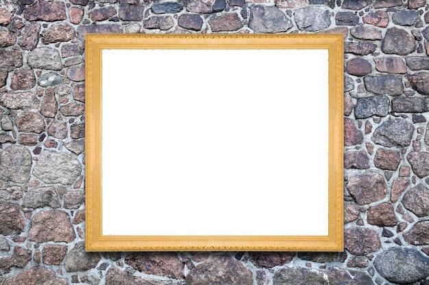 Prostokątna rama na białym tle na ścianie z kamienia naturalnego