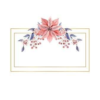 Prostokątna ramka pozioma z akwarelowymi gałązkami śnieżnych jagód i kwiatami poinsecji