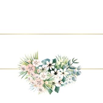 Prostokątna złota ramka z małymi kwiatami aktynidii