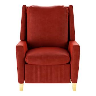 Prosty fotel czerwony na białym tle. przedni widok. ilustracja 3d