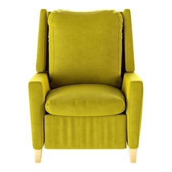 Prosty fotel żółty na białym tle. przedni widok. ilustracja renderowania 3d.