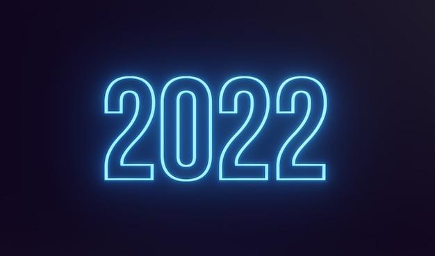 Prosty neon szczęśliwego nowego roku 2022 tekst na ciemnym tle ilustracja renderowania 3d