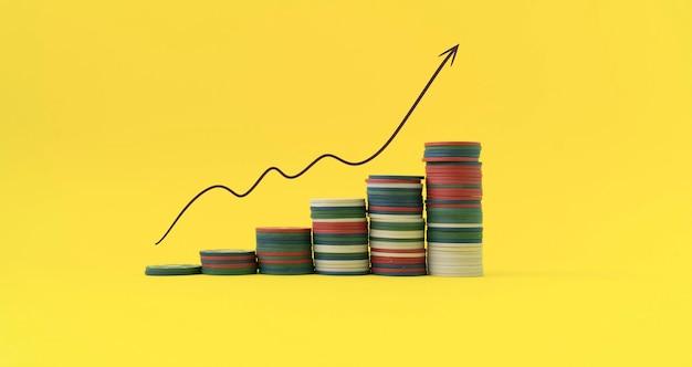 Prosty wykres wzrostu stosu monet, koncepcja inwestycji w dochód, sukces finansowy